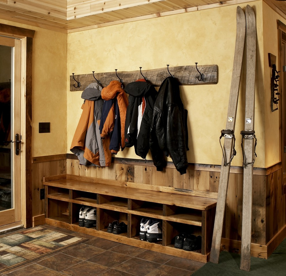 Coat Hook Rack Entry Rustic with Coat Hooks Cubby Holes Jackets Rustic Wood Half Wall Shoe Storage Ski