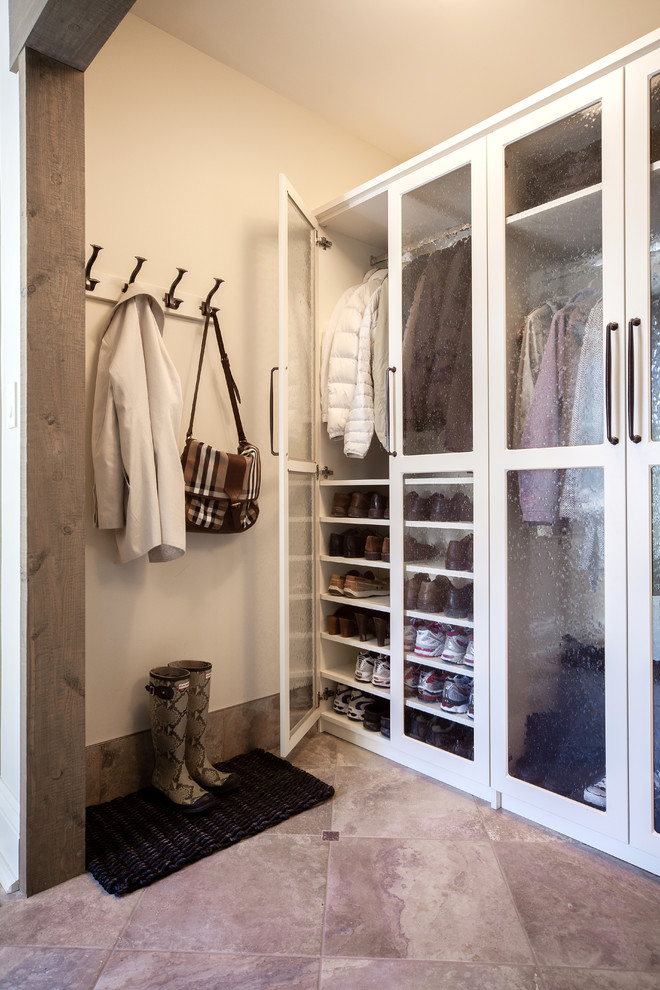 Coat Hooks Wall Mounted Entry Traditional with Back of Door Storage Beautiful Mudroom Beige Walls Chrome Handles Coat Hooks