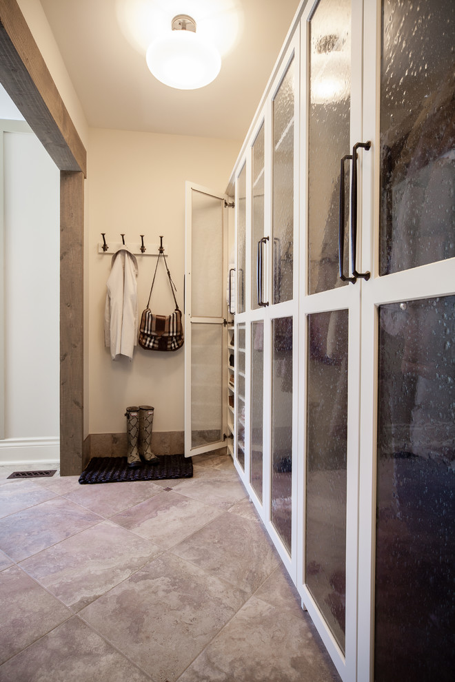 Coat Hooks Wall Mounted Entry Traditional with Back of Door Storage Beautiful Mudroom Beige Walls Chrome Handles Coat Hooks3