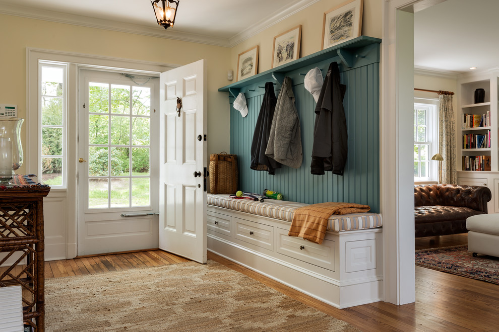 Coat Rack Bench Entry Traditional with Bench Cushion Benjamin Moore Paint Built in Cubbies Country Home Entry Entry
