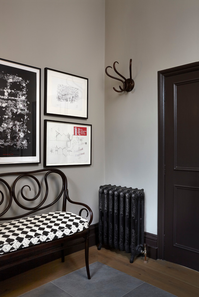 Coat Rack Bench Entry Victorian with Arches Balcony Doors Ball Light Black and White Black Trim Checker Dark