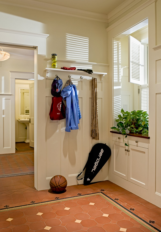 Coat Rack with Shelf Entry Victorian with Baseboards Coat Racks Crown Molding Floor Tile Design Foyer House Plant Tile