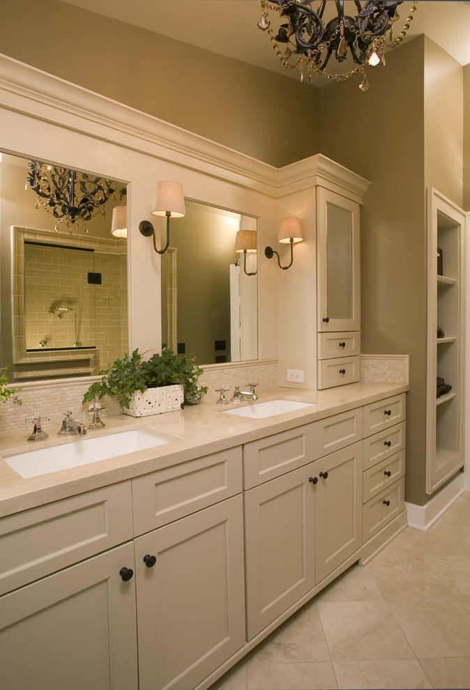 Coffee Brewers Bathroom Traditional with Bathroom Mirror Bathroom Storage Double Sinks Double Vanity Neutral Colors Sconce Tile