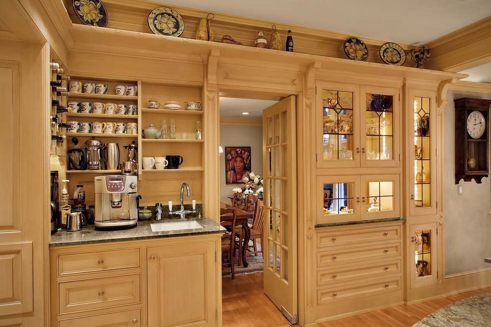 Coffee Brewers Kitchen Traditional with Cabinet Fronts Custom Wood Cabinets Dining Room Espresso French Door Granite Leaded
