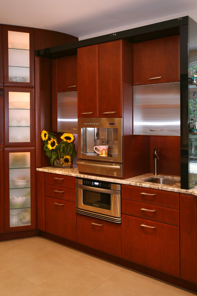 Coffee Percolator Kitchen Contemporary with Espresso Machine Kitchen Hardware Stainless Steel Appliances Sunflowers Tile Flooring Translucent Cabinets