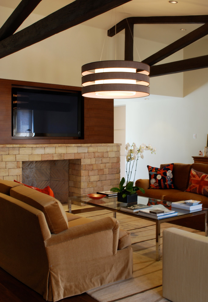 Coffee Table Ottoman Family Room Contemporary with Custom Doors Exposed Beams Fireplace Great Room Hearth Masonry Fireplace Media Fireplace