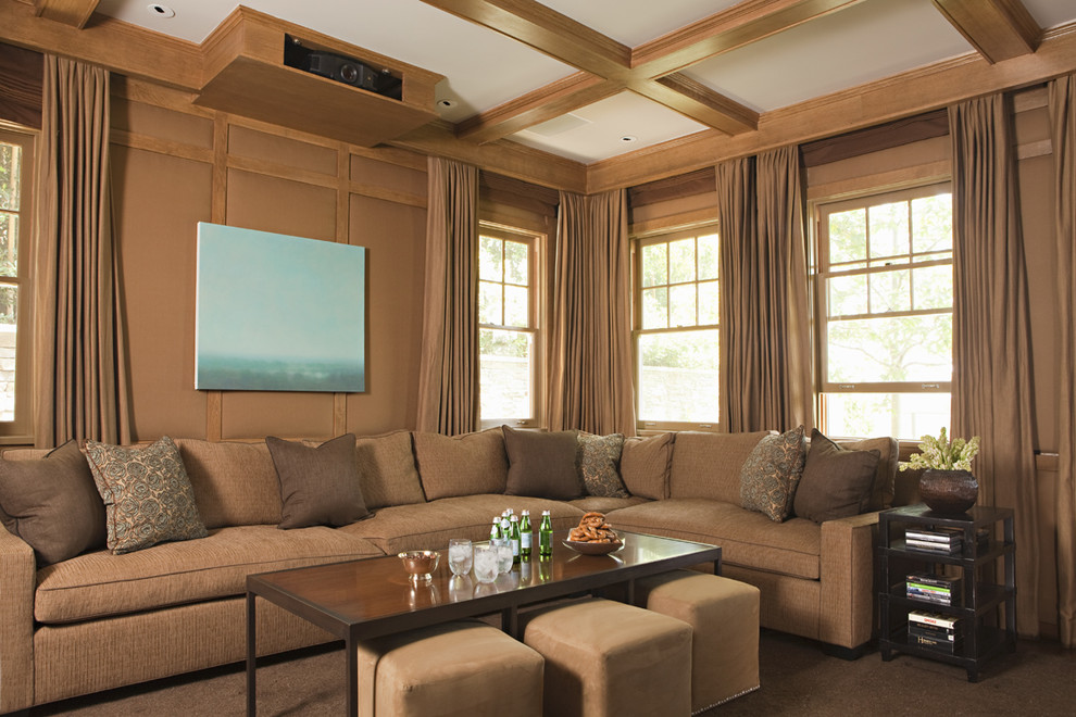 Coffee Table Ottoman Home Theater Transitional with Beamed Ceiling Coffered Coffered Ceiling Corner Sofa Curtains Double Hung Windows Drapes