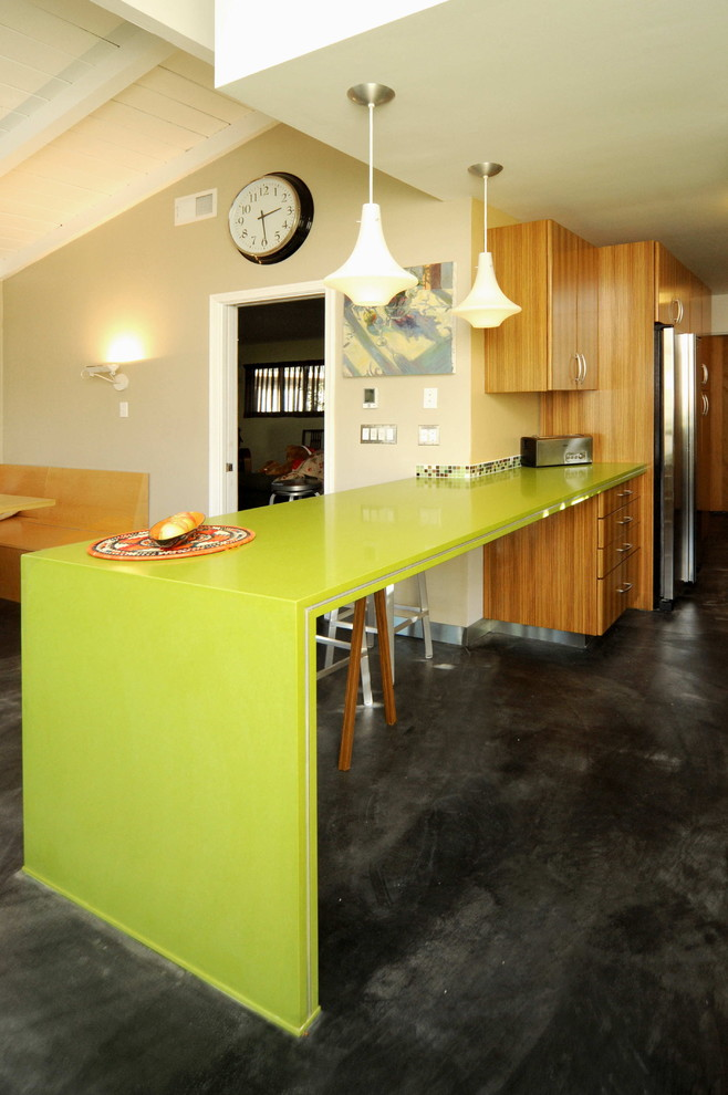 Colored Wine Glasses Kitchen Contemporary with Apple Martini Caesarstone Breakfast Bar Colorful Kitchen Concrete Floor Dark Floor Eat