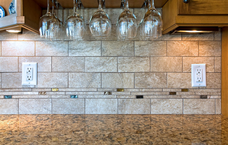 Colored Wine Glasses Kitchen Transitional with Accent Tile Beige Tile Casual Colorful Accents Comfortable Cozy Dark Wood Kitchen