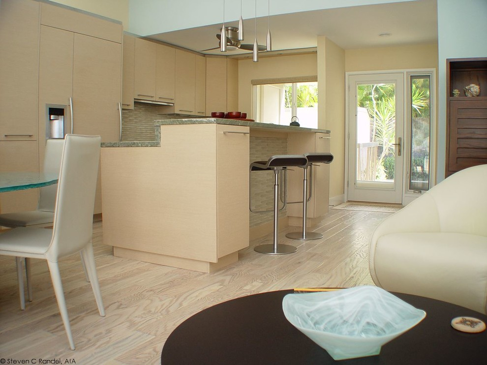 Columbia Flooring Kitchen Contemporary with Benjamin Moore Harbor Haze Botega Chair Miele Appliances Oceanside Glass Tile Woodmode