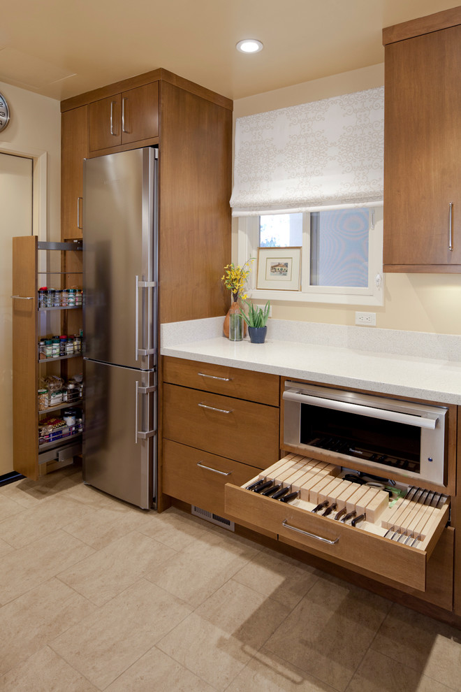 Comforpedic Reviews Kitchen Contemporary with Beige Stone Floor Beige Wall Knife Drawer Knife Storage Recessed Lighting Spice