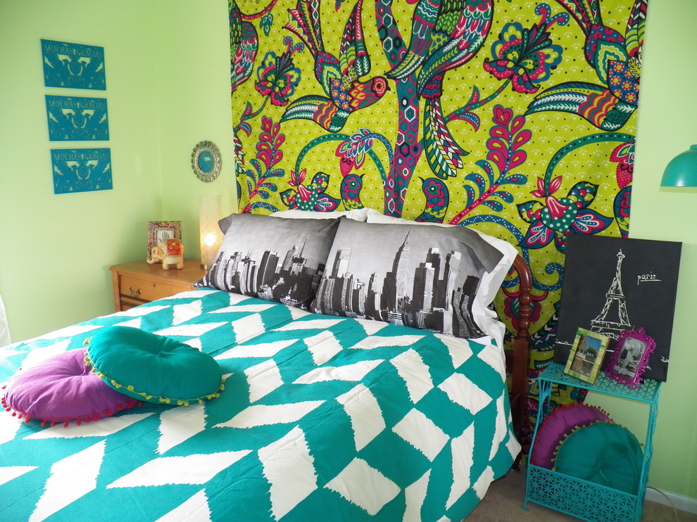 Comfort Revolution Pillow Kids Eclectic with Bedding Bedroom Bohemian Bright Bright Green Wall Girl Green Mixed Patterns Nightstand