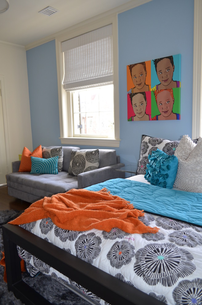 Comfortable Sleeper Sofa Kids Eclectic with Area Rug Artwork Float Light Blue Orange Accents Pillows Plush Printed Bedspread