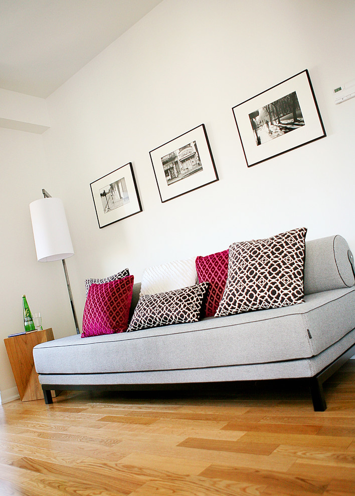 comfortable sleeper sofa Living Room Contemporary with black black and white photos black frames convertible bed daybed den floor