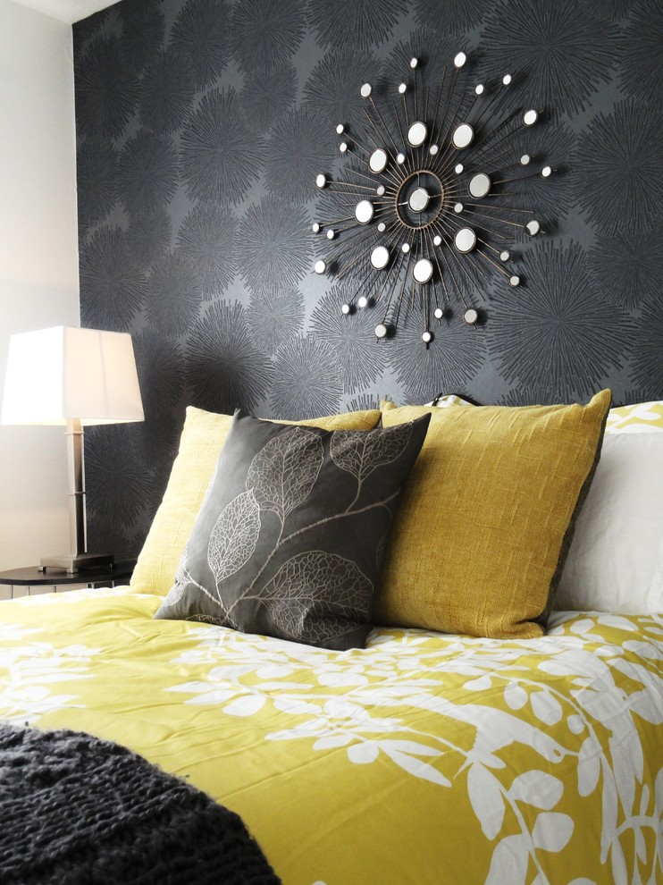 Comforter Sets Bedroom Contemporary with Accent Wall Black Wall Decorative Pillows Floral Duvet Indoor Braai Area Mustard