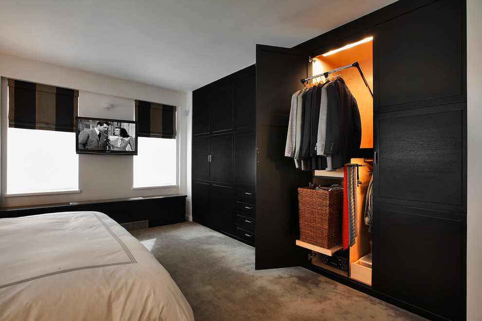 Commercial Garment Rack Bedroom Transitional with Black Furniture Built in Closet Closet Organizers Hotel Bedding Minimal Roman Shades