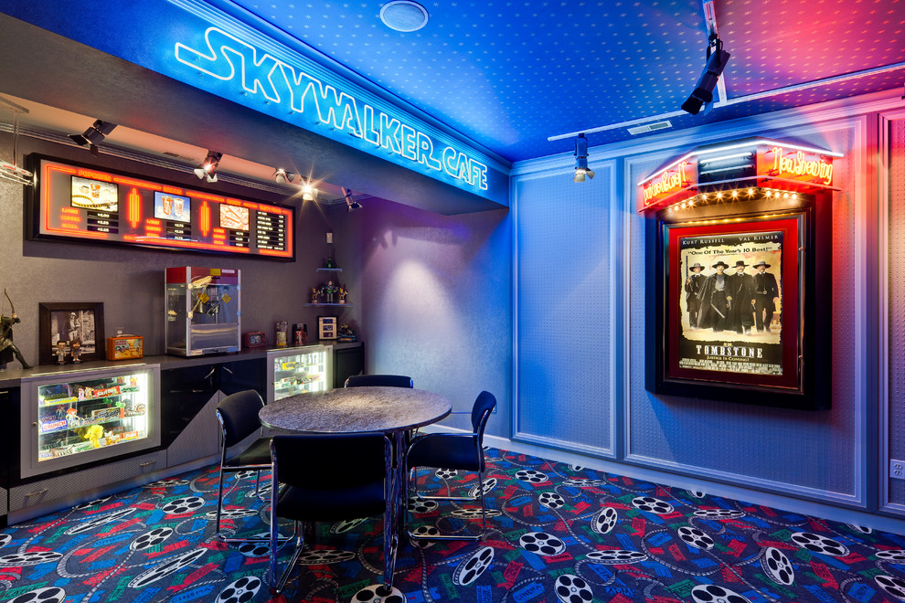 Commercial Popcorn Machine Home Theater Contemporary with Candy Cases Carpeting Concession Stand Marquee Menu Movie Theater Theme Neon Lights
