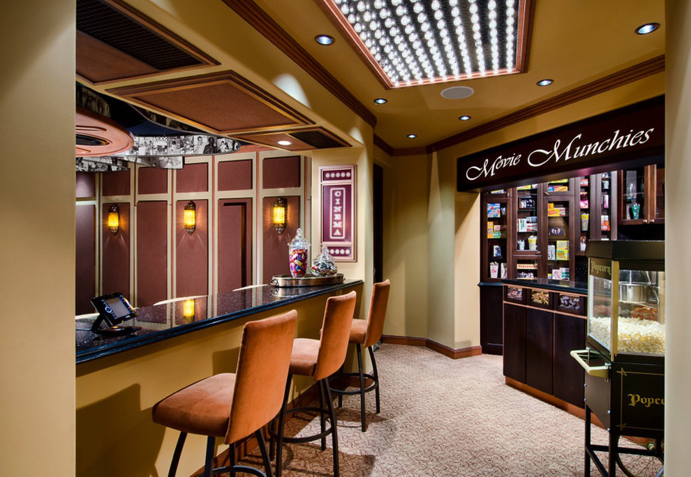 Commercial Popcorn Machine Home Theater Mediterranean with Beige Carpet Beige Wall Black Countertop Candy Station Concession Stand Home Bar