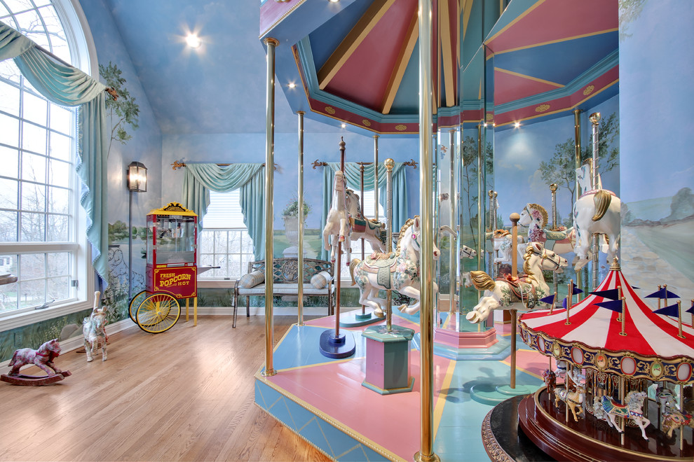 Commercial Popcorn Machine Kids Eclectic with Arched Window Bench Carousel Circus Light Wood Floors Muntins Mural Natural Lighting