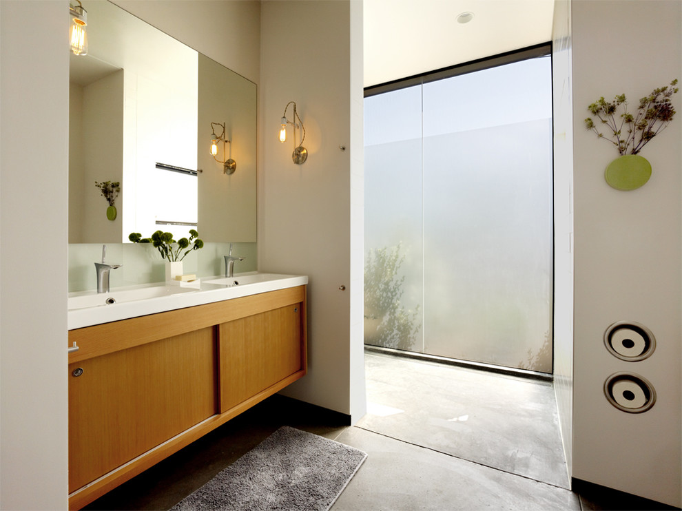 Commercial Toilet Paper Holder Bathroom Modern with Concrete Floor Frosted Glass Frosted Glass Window Large Window Vanity Window Wood