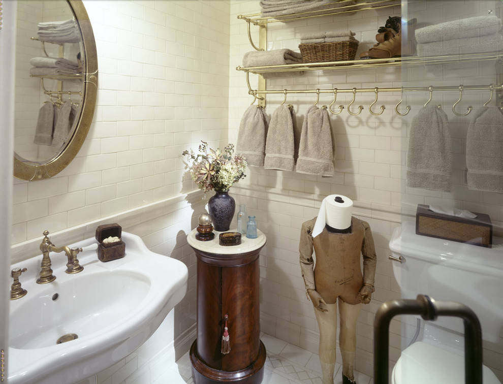 Commercial Toilet Paper Holder Bathroom Traditional with Brass Rack Oval Mirror Pedestal Sink Side Table Subway Tile Toilet Paper