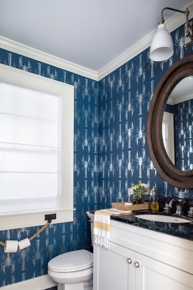 commercial toilet paper holder Powder Room Beach with blue wallpaper Lobsters metallic wallpaper nautical rope round mirror wall sconce window
