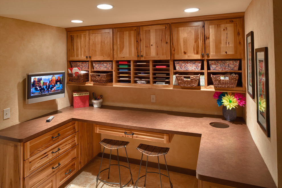 Commercial Trash Cans Home Office Transitional with Bar Stools Barstools Brown Countertop Cabinets Craft Room Cubby Holes Drawers Gift