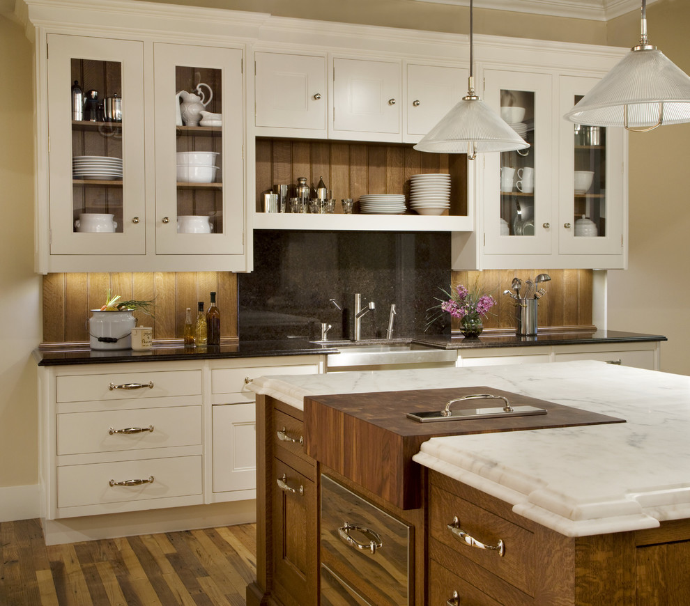 Commercial Trash Cans Kitchen Traditional with Bead Board Black Granite Butcher Block Glass Front Cabinets Marble Backsplash Pendant