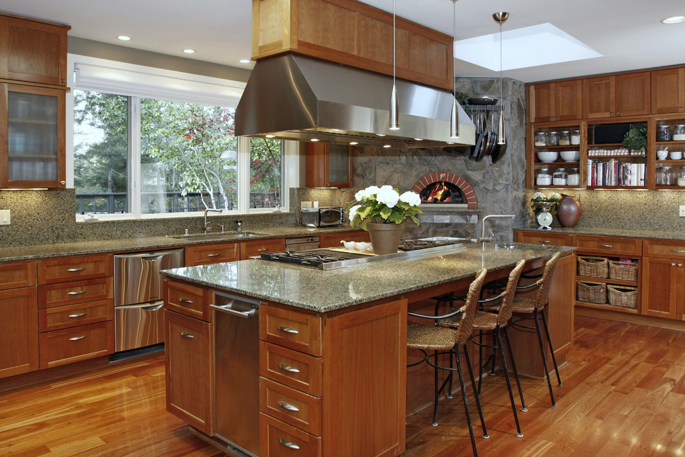Commercial Trash Cans Kitchen Traditional with Brick Oven Counter Stools Frosted Glass Granite Hood Island Open Shelves Pendant