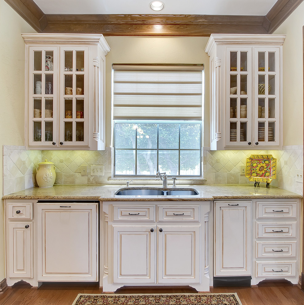 Commercial Trash Cans Kitchen Traditional with Crown Molding Stone Countertop Tile Tiled Backspalsh White Kitchen Cabinets Window Treatment