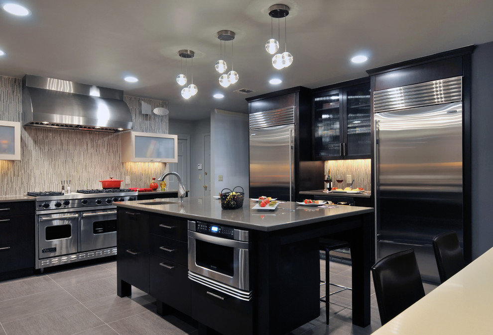 compact refrigerator no freezer Kitchen Contemporary with backsplash black black cabinets chandelier contemporary double fridge gray island pendant lights