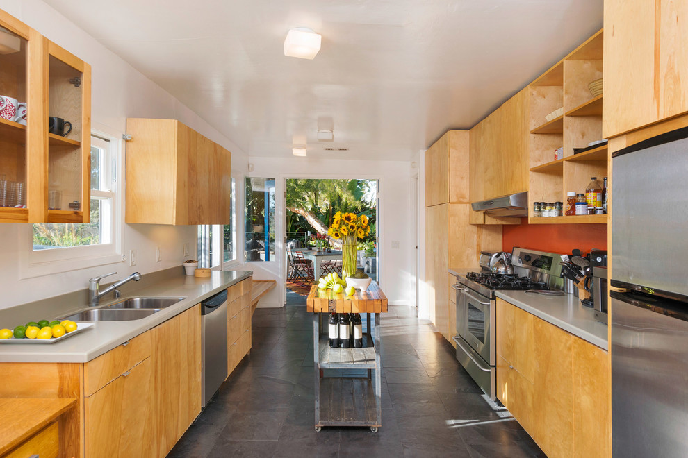 Compact Refrigerator No Freezer Kitchen Midcentury with Built in Bookshelves Built in Storage Carport Kitchen and Living Area Kitchen Dining