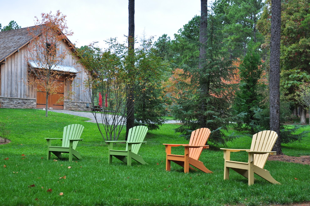 Composite Adirondack Chairs Landscape Traditional with Adirondack Barn Barn Doors Board and Batten Colorful Gable Roof Gravel Drive