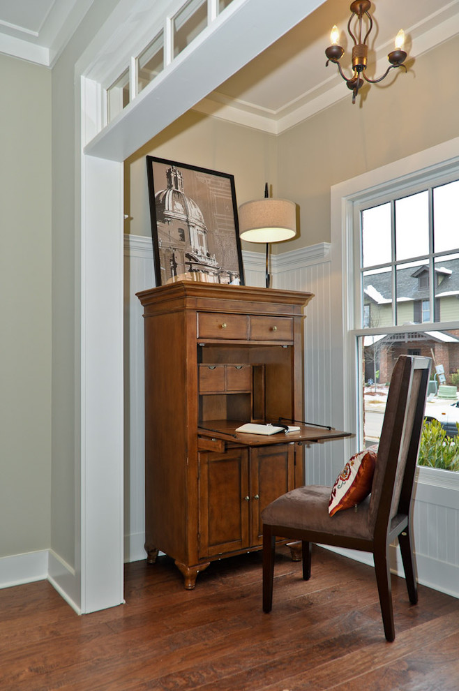 Computer Armoire Desk Living Room Traditional with Abattant Bead Board Beige Walls Chandelier Crown Moulding Dark Stained Wood Drop Front