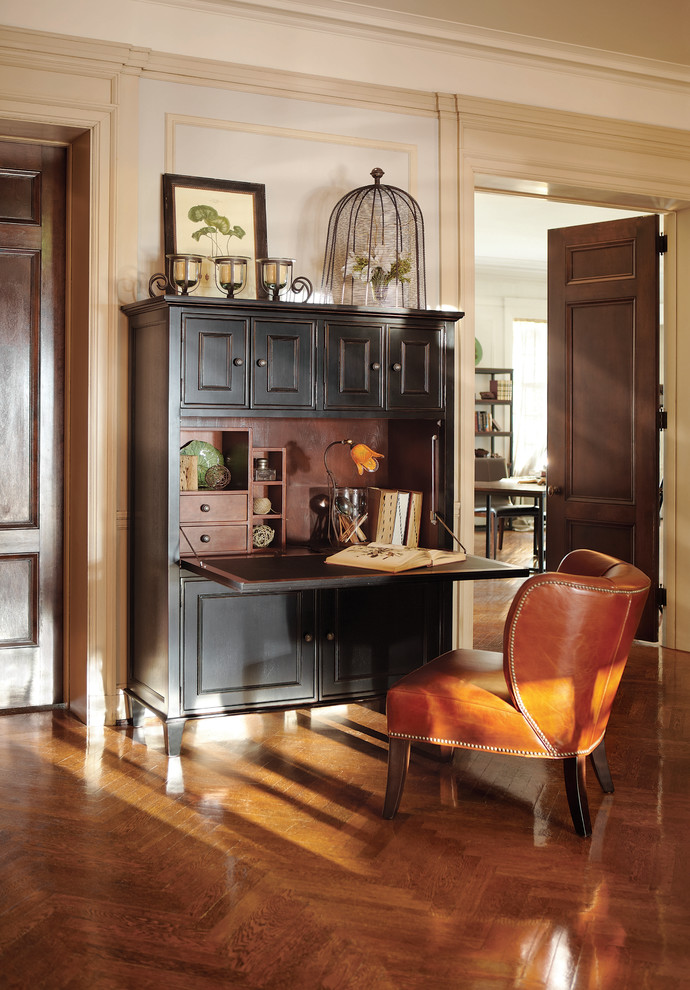 Computer Hutch Home Office Traditional with Black Desk Brown Leather Chair Dark Wood Door Desk Cabinet Herringbone Wood