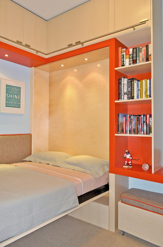 Convertible Chair Bed Kids Contemporary with Bedroom Bookcase Bookshelves Built in Bed Built in Shelves Ceiling Lighting Convertible Bed Murphy