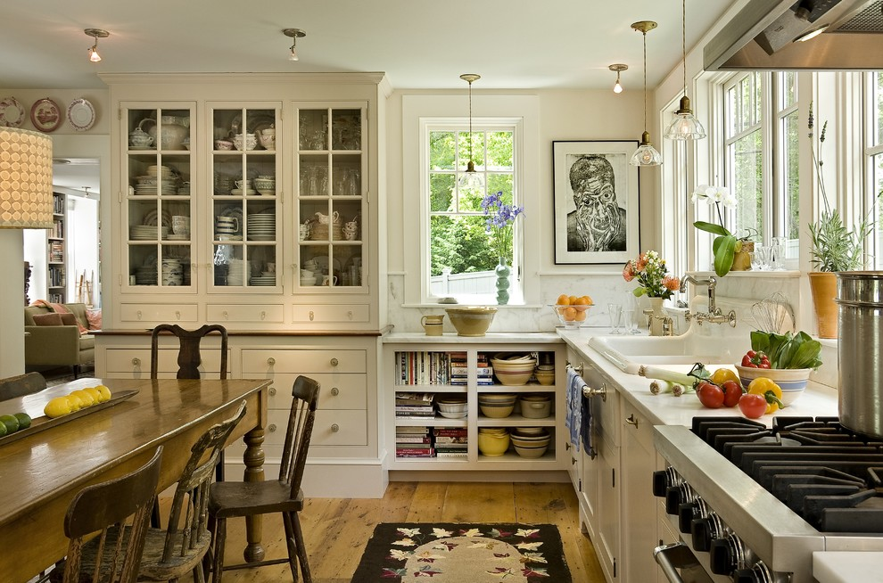 Cooking Aprons Kitchen Farmhouse with China Cabinet China on Display Contemporary Artwork Pendants Porcelain Sink Rustic Chairs