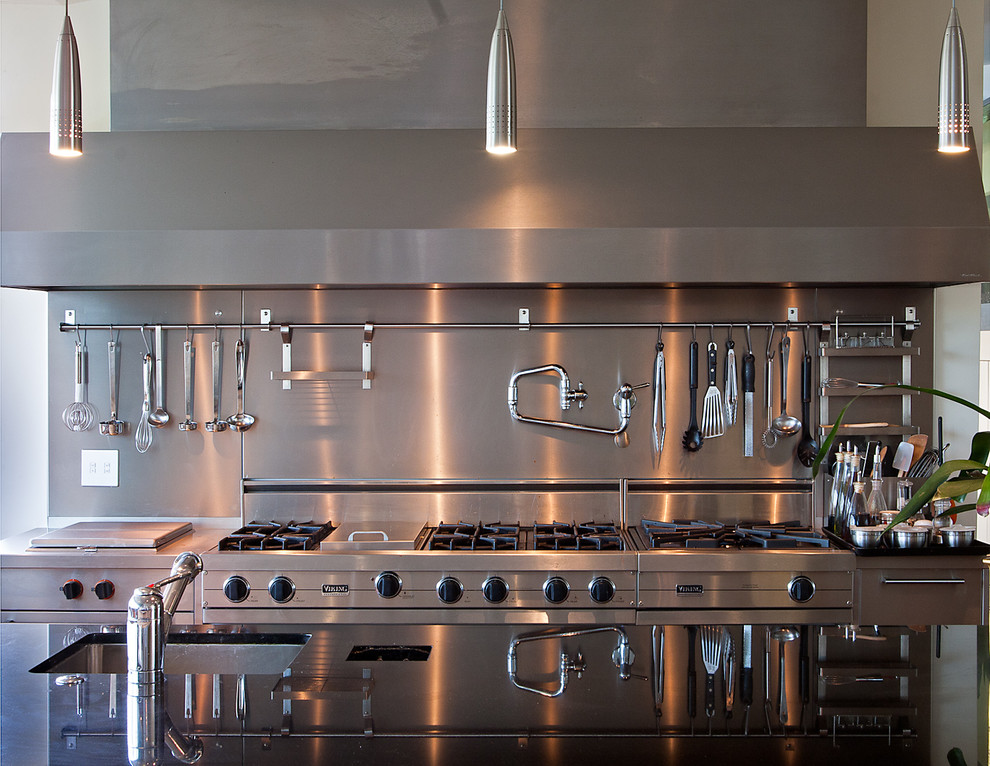 Cooking with Calphalon Kitchen Contemporary with Industrial Pendant Lighting Pot Filler Range Hood Stainless Steel Appliances Utensil Rack