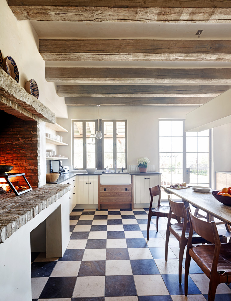 cooking with calphalon Kitchen Rustic with apron sink BLACK AND WHITE FLOOR casement windows check pattern cooking fireplace