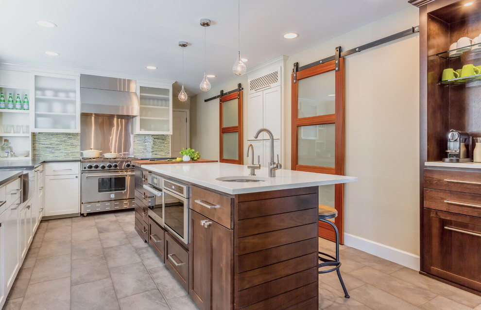 Cooking with Calphalon Kitchen Transitional with Bar Sink Barstools Espresso Cabinets Espresso Machine Frosted Glass Glass Backsplash Glass