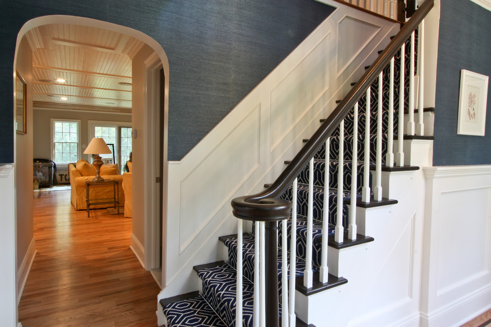 Cooling Gel Pillow Staircase Traditional with Bead Board Blue Dentil Door Entry Floor Foyer Front Grasscloth Great Room