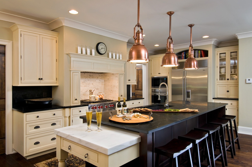 Copper Pendant Light Kitchen Traditional with Copper Pendant Lights Counter Stools Crown Molding Glass Front Cabinets Island Painted