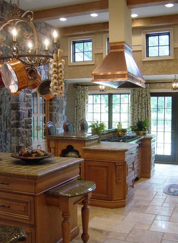 Copper Range Hood Kitchen Traditional with 12 Foot Ceiling Beam Ceiling Copper Hood Country Custom English French French Door
