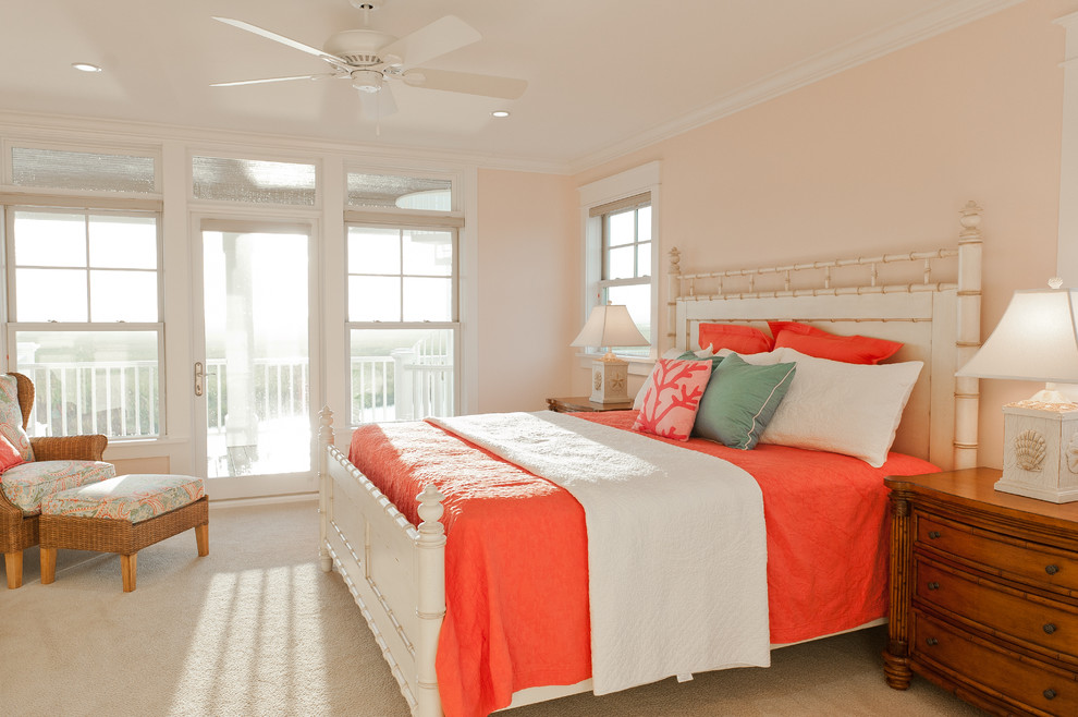 Coral Bedding Sets Bedroom Traditional with Bamboo Bed Beach Theme Bedside Lamps Carpeting Ceiling Fan Coral Dresser Ottoman
