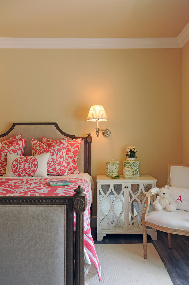 Coral Bedding Sets Bedroom Traditional with Beige Bed Beige Rug Beige Wall Bright Bedding Dark Wood Bed Green