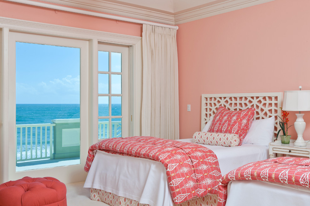 coral comforter Bedroom Contemporary with balcony carpet GIRLS BEDROOM WHO LOVES PINK glass door pink bedding pink
