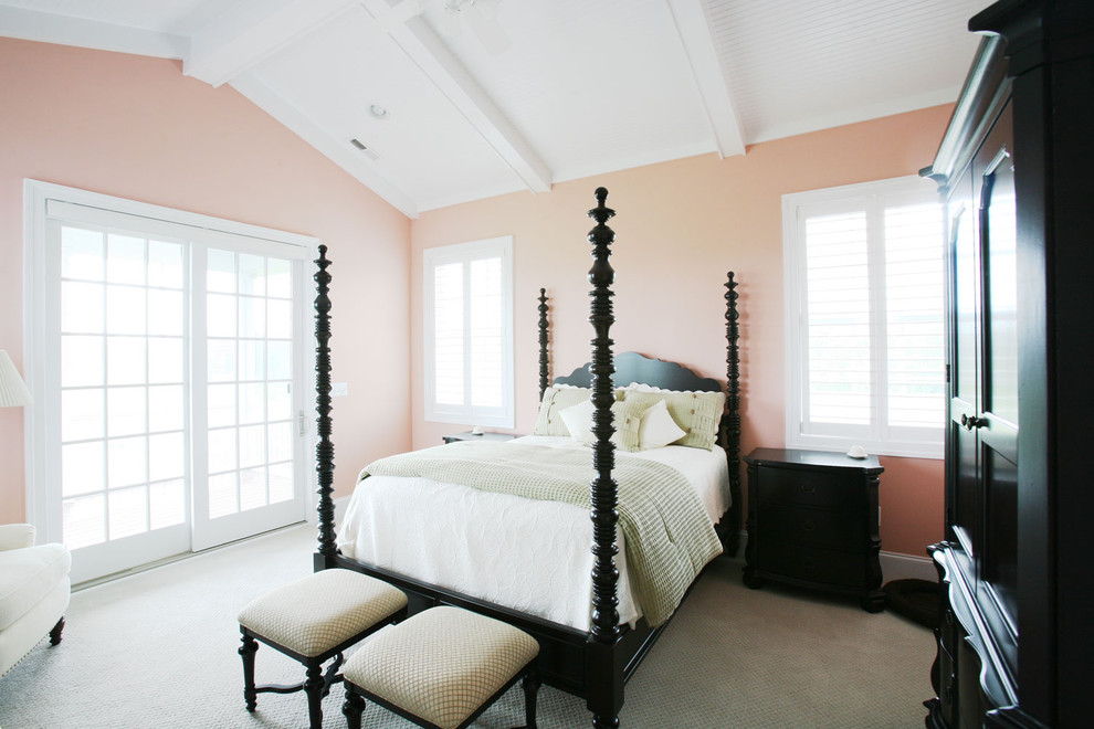 Coral Comforter Bedroom Traditional with Armoire Bedside Table Exposed Beams Foot of the Bedroom Bench Four Poster