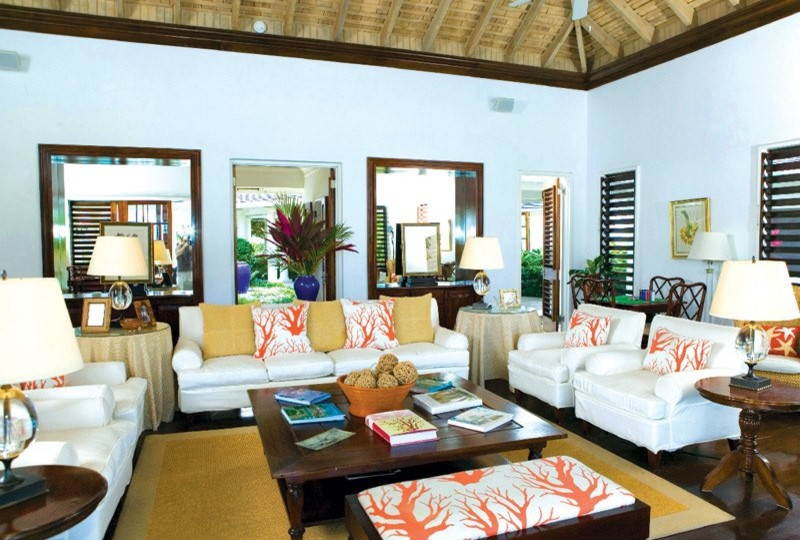 Coral Comforter Living Room Tropical with Architecture Caribbean Design Jamaica Life Living Luxury Magazine Real Reallife Reallife Caribbean