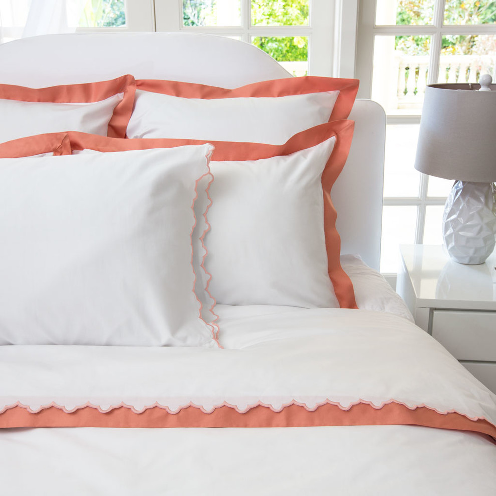 Coral Duvet Cover Spaces Modern with 400 Thread Count Bedding Border Coral Crane and Canopy Duvet Duvet Cover