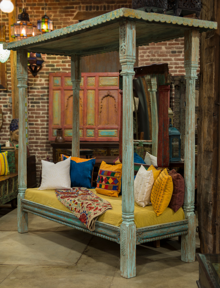 Coral Quilt Bedroom Eclectic with Reclaimed Teak Lounge Day Bed Canopy B